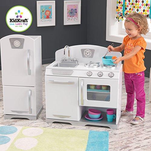 Kidkraft - 53307 Kinderküche und Kühlschrank Retro, weiss