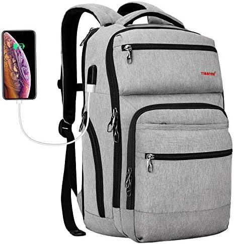 Tigernu Travel Laptop Backpack Business Anti Theft Slim Backpacks with USB Charging Port Water Resistant Bookbag for Women Men Fits 15.6 Inch Laptop Grey