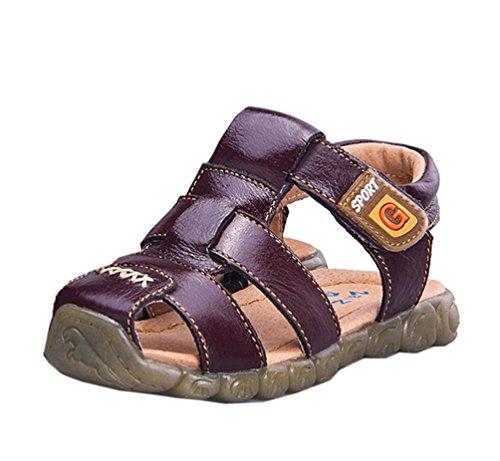 CHENGYANG Unisex Kinder Jungen Strand Sandale Schuhe - Rutschfest Geschlossene Sandalen Braun