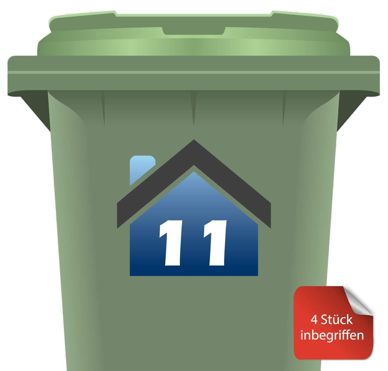 RJWprint M/ülltonnen-Aufkleber Personalisierbar mit Adresse//Hausnummer 14 x 12 cm 4 St/ück