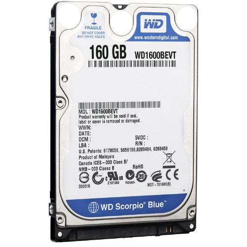- Western Digital WD1600BEVT 160 GB 5400RPM SATA 8 MB 2.5-Inch Notebook Hard Drive