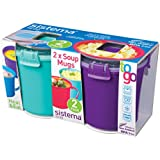 Sistema To Go Collection Microwave Soup Mug , 22 Ounce/ 2.75 Cup, Assorted colors, Set of 2