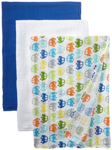 i play green sprouts Brights Organic Muslin Blanket 3pc Gift