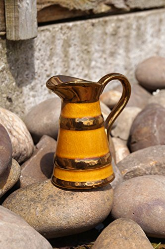 Miniature china vase / pitcher || Lord Nelson pottery, made in England || very detailed brown and gold (Miniature Pottery Vase)