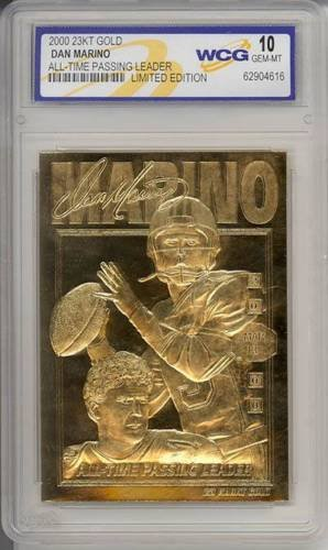(DAN MARINO ALL TIME PASSING LEADER WCG GEM MT 10 SIGNATURE 23KT GOLD CARD!)