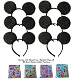 Build Your Own Family Pack Mickey Mouse Style Ears Kids Adults/Minnie Mouse Style Ears Headband Party Boys Girls Parties (6 Sparkling Black Ears)
