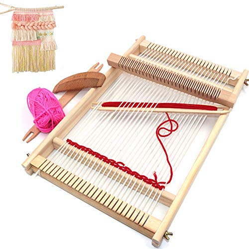 LAUWOO Wooden Multi-Craft Weaving Loom Large Frame 9.85x 15.75x 1.3 Inches to Handcraft for Kids