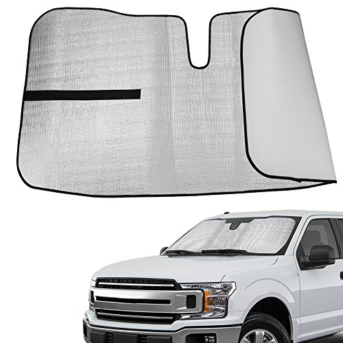 YITAMOTOR Windshield Sunshade Compatible for Ford F150 W/Lane Depart Sensor 2015-18, Custom Fit Front Car UV Rays Protector Keep Vehicle Cool (Ford F150 Windshield)
