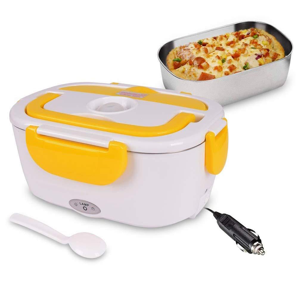 QIANGUANG Scaldavivande riscaldante Elettrico riscaldante per Alimenti con Riscaldamento Elettrico Bento 12V con Contenitore Staccabile in Acciaio Inox da Yellow