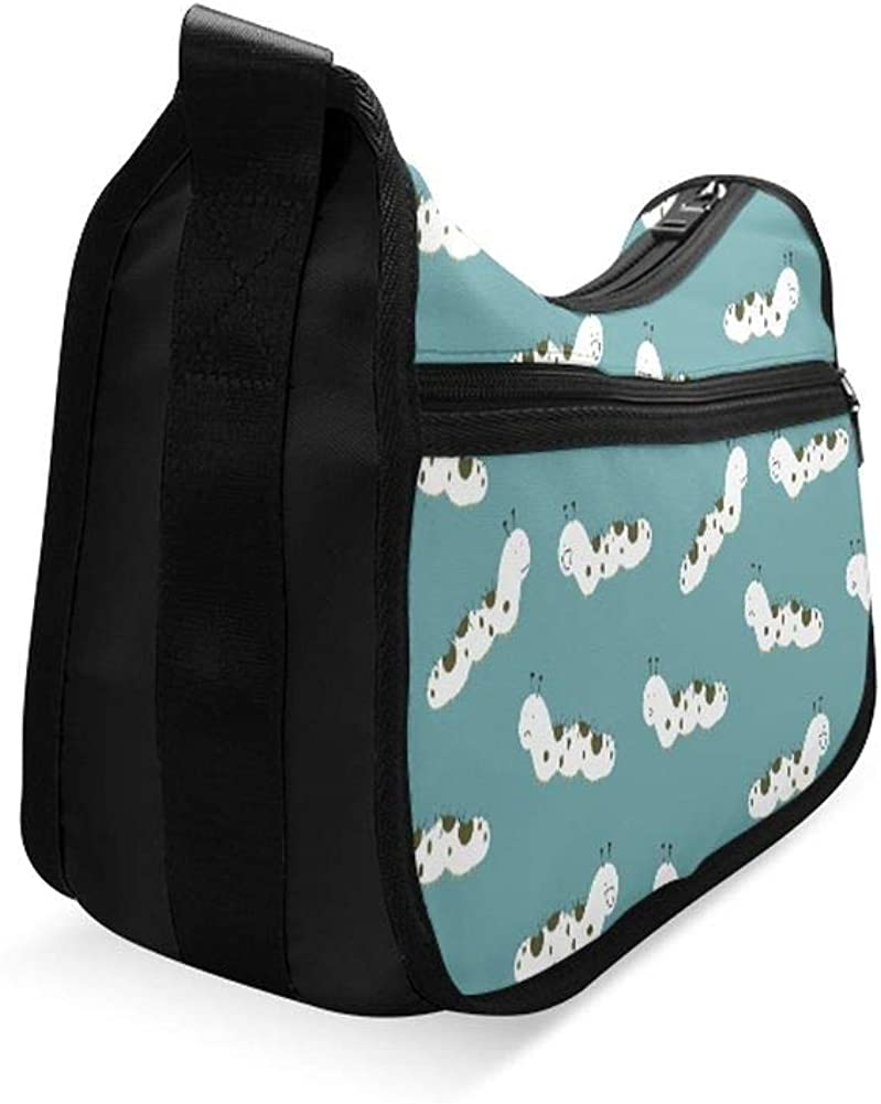 Caterpillar In Cartoon Style Messenger Bag Crossbody Bag Large Durable Shoulder School Or Business Bag Oxford Fabric For Mens Womens