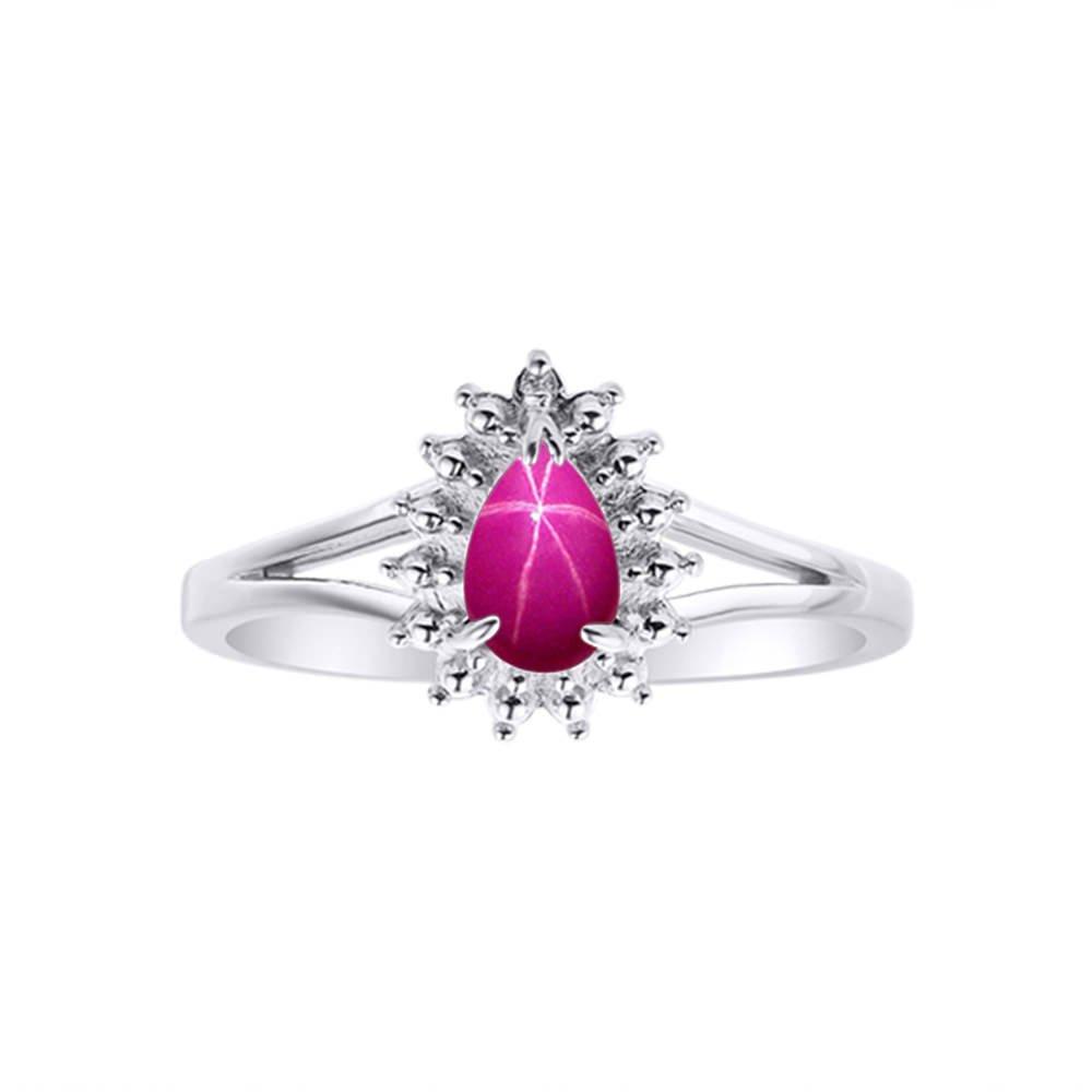 Diamond & Star Ruby Ring Set In 14K White Gold