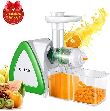 OUTAD 150W Low Speed Masticating Juicer Extractor, Cold Press Juicer, Lowest Noise, with Cleaning Brush, Bigger Container, High Nutrient Juice Reducing Oxidation
