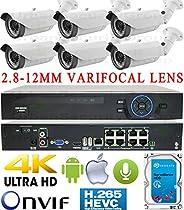 USG Business Grade H.265 4MP 6 Camera HD Security System : Ultra 4K Security NVR + 6x 4MP 2592x1520 2.8-12mm Vari-Focal Lens Bullet Cameras + 1x 4TB HDD : Apple Android Phone App