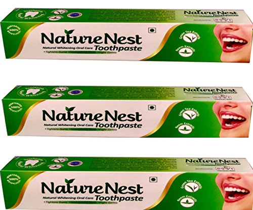 Nature Nest Toothpaste | 3 Bulk Packs – Himalayan Herbal 100% Natural Vegetarian SLS Free| Green Tea extracts, Neem extracts, Peppermint/Spearmint/Aniseed Oil, Calcium Carbonate