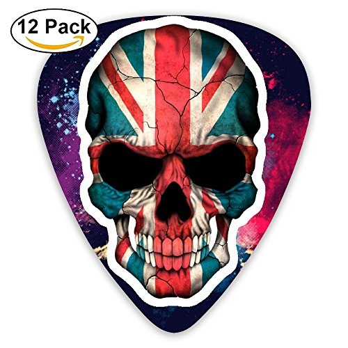 Cool Guitar Picks British Flag Skull Celluloid Plectrums For Guitar Bass,12 Pack Includes Thin, Medium & Heavy (Skull Pick Necklace)
