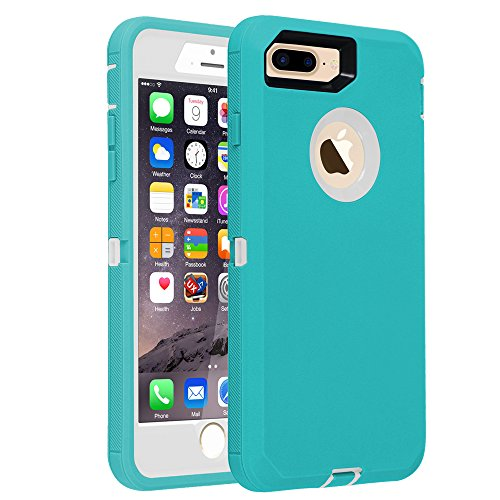 "Co-Goldguard iPhone 7 Plus/8 Plus Case Heavy Duty Armor 3 in 1 Built-in Screen Protector Rugged Cover Dust-Proof Shockproof Drop-Proof Scratch-Resistant Shell for Apple iPhone 7+/8+ 5.5"",Blue/white"