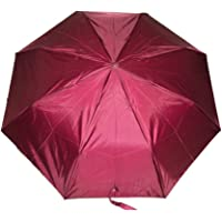 KC Paul & Sons Polyester Nylon 3 Fold Maroon Umbrella with Protection for Rain and Sunlight