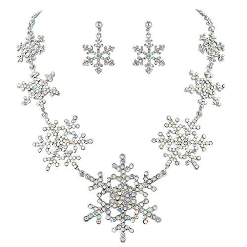 EVER FAITH Silver-Tone Snowflake Iridescent Clear AB Austrian Crystal Necklace Earrings Set ()