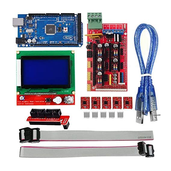 REES52 3D Printer Controller Kit for Arduino RepRap, RAMPS 1.4 + Mega 2560 Board + 5pcs A4988 Stepper Motor Driver with Heatsink + LCD 12864 Graphic Smart Display Display with Adapter