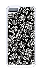 iPhone 5C Case, Personalized Custom Rubber TPU White Case for iphone 5C - Black Leaves Cover