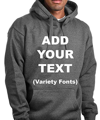 Custom Pullover Fleece Hoodied Sweatshirt Add Your Own Text for Men & Women [Charcoal/Large] ()