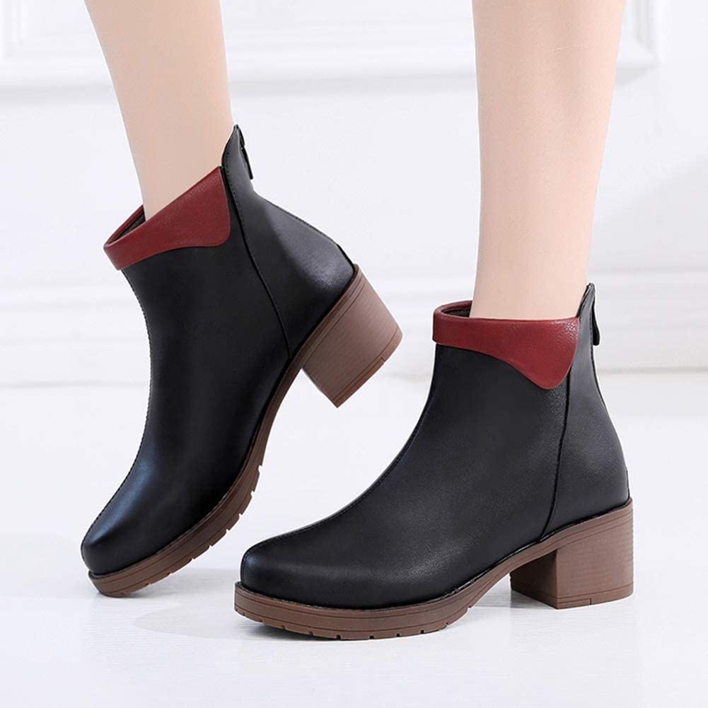 NOMSOCR Womens Casual Round Toe Ankle Boots Ladies Fashion Rubbber Sole Anti-Slip Martin Boots