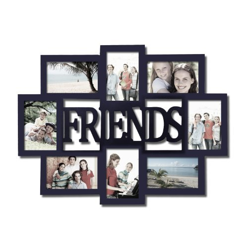 Adeco 8 Openings Decorative Black Wood Friends Alternating Wall Hanging Collage Picture Photo Frame - Made to Display Eight 4x6 Photos (4 Vertical, 4 Horizontal)