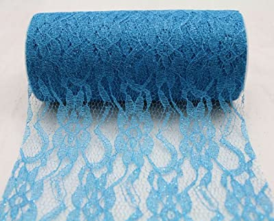 """6"""" wide x 10 Yards Sparkle Floral Pattern Lace Fabric for Decorating, Floral Designing and Crafts"""