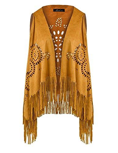Fringe Sleeveless - Ferand Suedette V-Neck Front-Open Fringe Sleeveless Cardigan Gilet Vest with Punch Hole Patterns for Ladies, Yellow