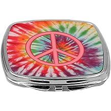 Rikki Knight Compact Mirror, Orange Peace Logo on Tropical Tie Dye, 3 Ounce