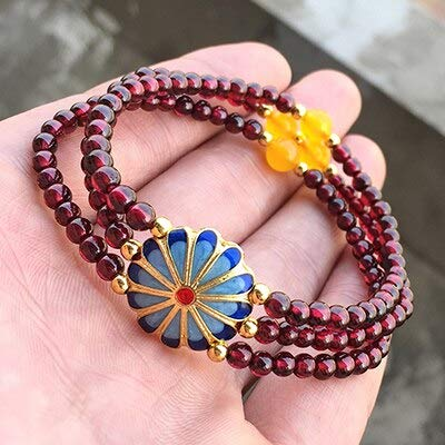 Natural Garnet Bracelets | Bead Chalcedony Jewelry Accessories | Crystal Bracelets | for Men Bracelets (4Mm)