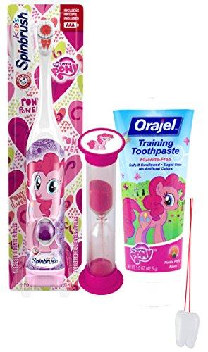 "My Little Pony ""Pinkie Pie"" 3pc Bright Smile Oral Hygiene Set! Turbo Spin Toothbrush, Toothpaste & Brushing Timer! Plus Bonus ""Remember to Brush"" Visual Aid!"
