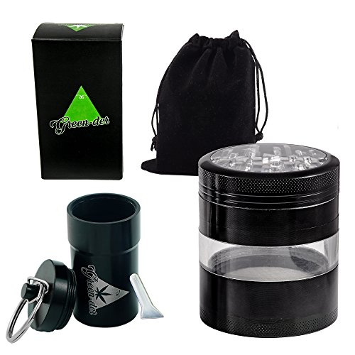 Fine-Herb-Grinder-Set-for-Weed-Spice-and-Tobacco-including-Large-four-pieces-325-inches-Tall-Aluminum-Grinder-with-PollenKeef-Catcher-and-Airtight-Container-Black-by-GREEN-DER