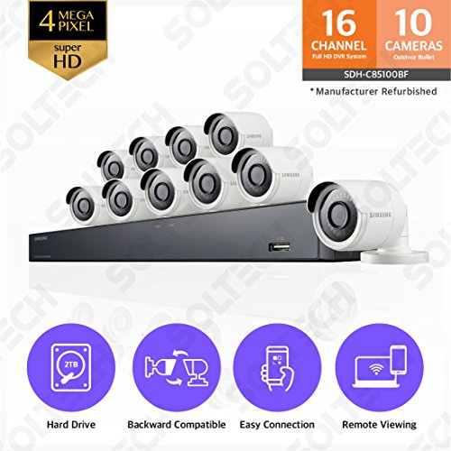 Samsung Wisenet SDH-C85100BF 16 Channel 4MP Super HD DVR Video Security System with 2TB Hard Drive and 10 4MP Weather Resistant Bullet Cameras (SDC-89440BF) - (Certified Refurbished)