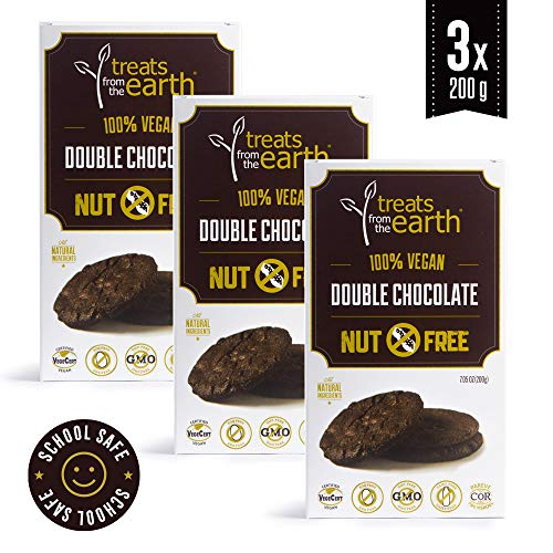 Treats From The Earth Peanut Free Double Chocolate Cookies (Pack of 3) - 3 x 7.05 oz - Kosher - Vegan - Dairy Free - Organic - GMO Free - Sinfully Delicious ()
