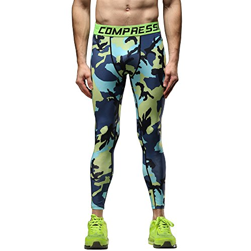 (1Bests Mens Camouflage Running Fitness Compression Pants Workout Quick Dry Thermal Baselayer Tights Leggings (M, Yellow Blue))