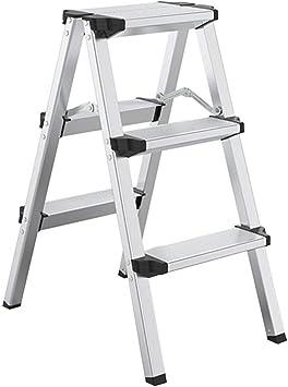 Taburete Escalera Plegable Escalera Plegable portátil Ligero escalonada de Aluminio Stool 330 Lbs adecuados for la Cocina, Armario, Estantería de Libros (Color : Silver): Amazon.es: Hogar