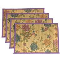 Hickoryville Placemat Bundle - Set of 4 Bamboo Placemats with Flowers