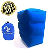 Inflatable Travel Pillow Leg Rest & Feet Rest Support for Kid Sleeping & Adult Resting During Flight & Car Travel (Blue)
