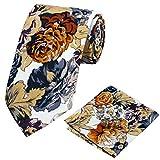 Fashion men ties flower tie pocket square cufflinks necktie set wedding party business