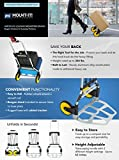 Mount-It! Folding Hand Truck and Dolly, 264 Lb / 120 kg Capacity Heavy-Duty Luggage Trolley Cart With Telescoping Handle and Rubber Wheels