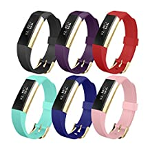 Fitbit Alta Band, UMTELE Soft Replacement Wristband with Metal Buckle Clasp for Fitbit Alta Smart Fitness Tracker 6PACK