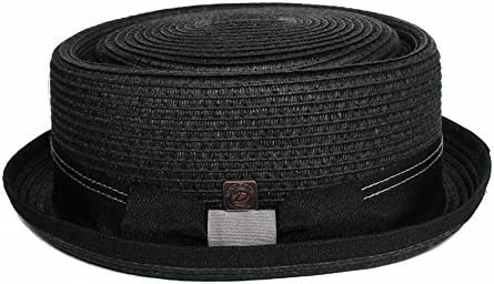 Dasmarca Braided Summer Paper Straw Telescope Crown Retro Porkpie Hat