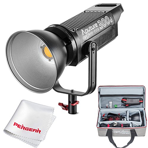 Aputure COB 300D LS C300D Daylight Balanced Led Video Light CRI95+ TLCI96+ 48000lux@0.5M Bowens Mount 2.4G Remote Control 18dB Low Noise V-Mount Plate with Canvas Bag and PERGEAR Cleaning ()
