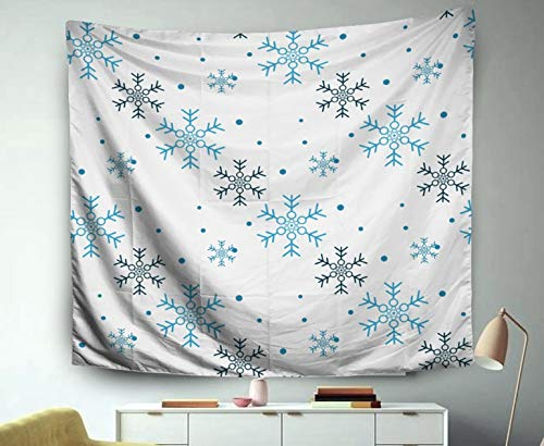 Asdecmoly Wall Tapestry Large, Tapestry Wall Hanging Living Room Bedroom 60 Lx50 W Inches Snowflake Simple Pattern Blue Snow White Background Abstract Wallpaper Art Printing Inhouse