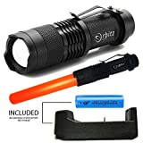 LED Tactical Flashlight, Orbitz Gear 5400 Lumen XML T6 Portable Baton Outdoor led flashlight, Water Resistant Torch with Adjustable Focus and 5 Light Modes safety, aviation signal flashlight wand