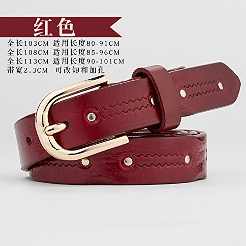 ZHANGYONGTrousers Belts Female Leather-pin tie Metal Personality Rivets Stripes Innocence Leather Belt Black and red, Red,113cm