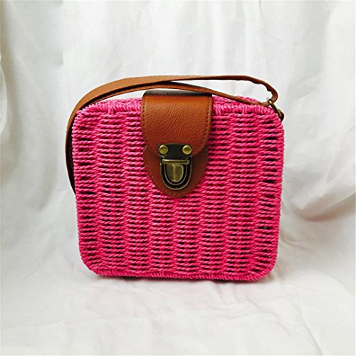 Durable Rattan Handbags Women Crossbody Bag Weave Bag Designer Beach Bag Sac Paille Wicker Square Shoulder Bag Green Rose