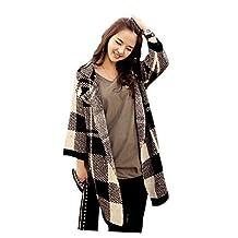ARJOSA Women Ladies Long Sleeve Plaid Check Button Coat Jacket