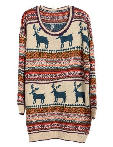 Pink Queen Women/Girls Retro Snowflake Knitted Reindeer Christmas Sweater